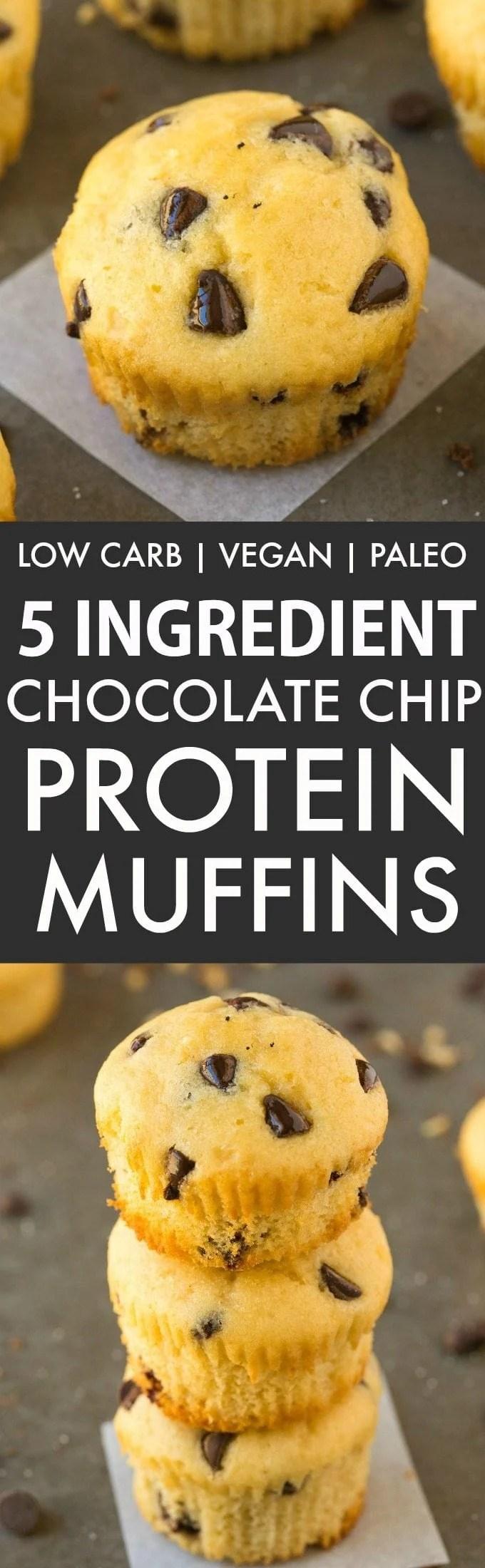 5 Ingredient Chocolate Chip Protein Muffins (Low Carb, Vegan, Paleo)