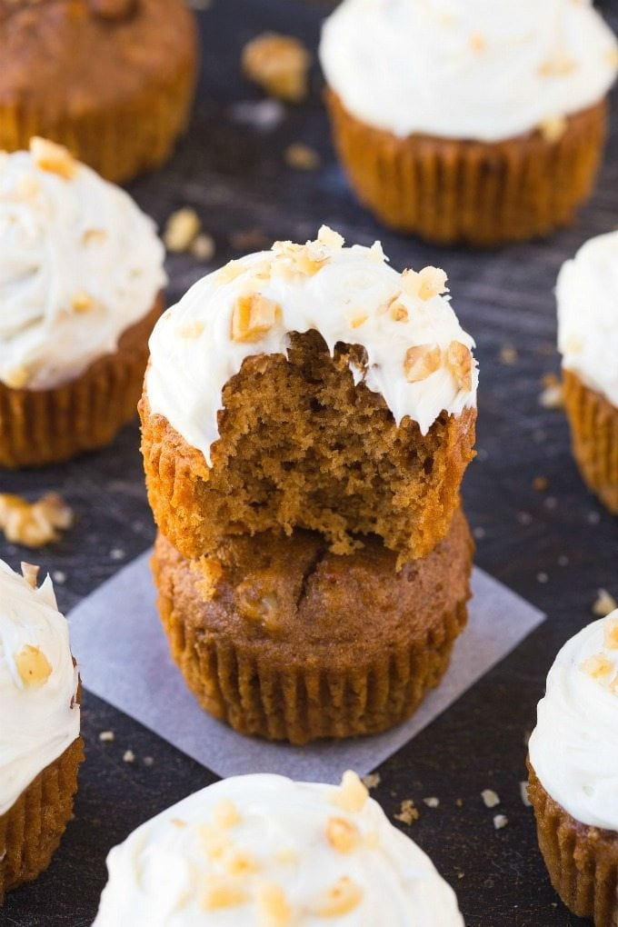 Healthy Flourless Carrot Cake Breakfast Muffins (V, GF, P, DF)- Easy, delicious and completely guilt-free muffins which are fluffy, light and secretly filling- Even the thick frosting is healthy and protein-packed! {vegan, gluten free, paleo recipe}- thebigmansworld.com