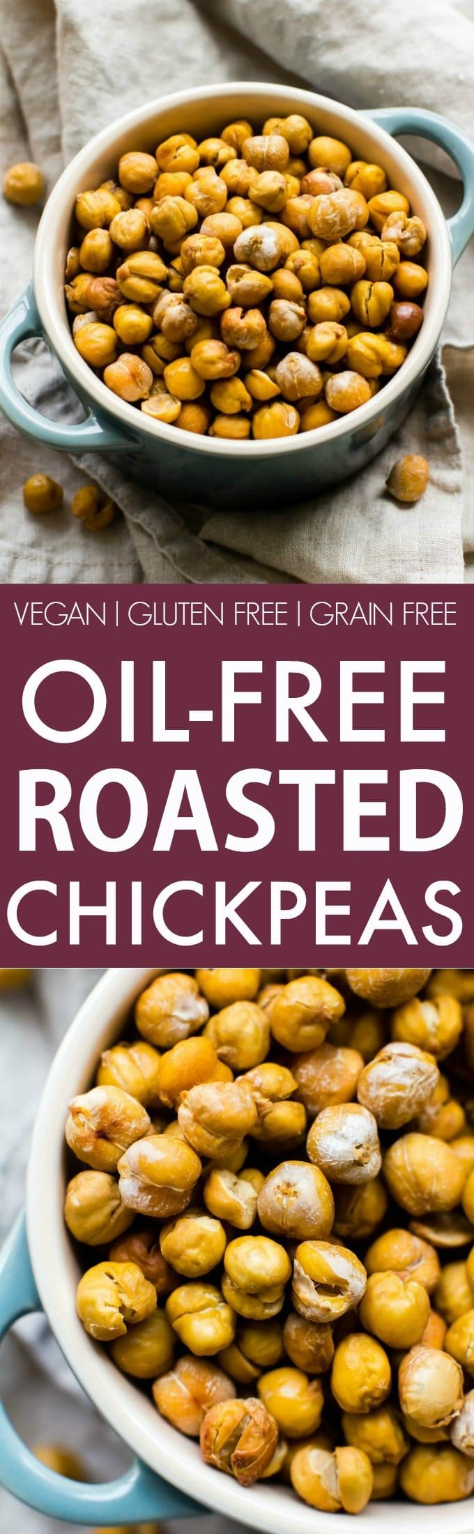 Healthy Oil-Free Roasted Chickpeas (V, GF, DF)- Easy, crispy and completely OIL-FREE chickpeas which are seriously addictive and customizable- The perfect snack! {vegan, gluten free, grain free recipe}- thebigmansworld.com