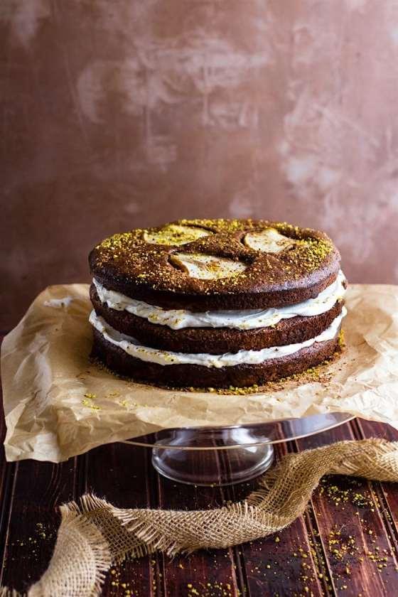 Flourless Chocolate Pistachio Pear Naked Cake