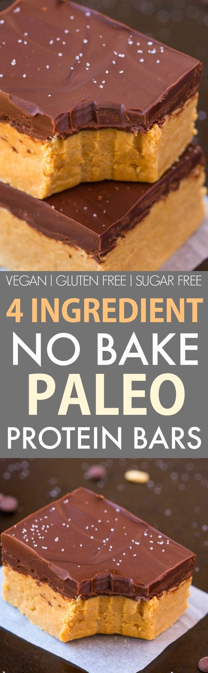 4-Ingredient No Bake Paleo Protein Bars (V, GF, DF)- Thick, chewy and fudgy protein bars which are better than anything store bought! Ready in 5 minutes and the perfect low carb and sugar free snack! {vegan, gluten free, dairy free recipe}- thebigmansworld.com