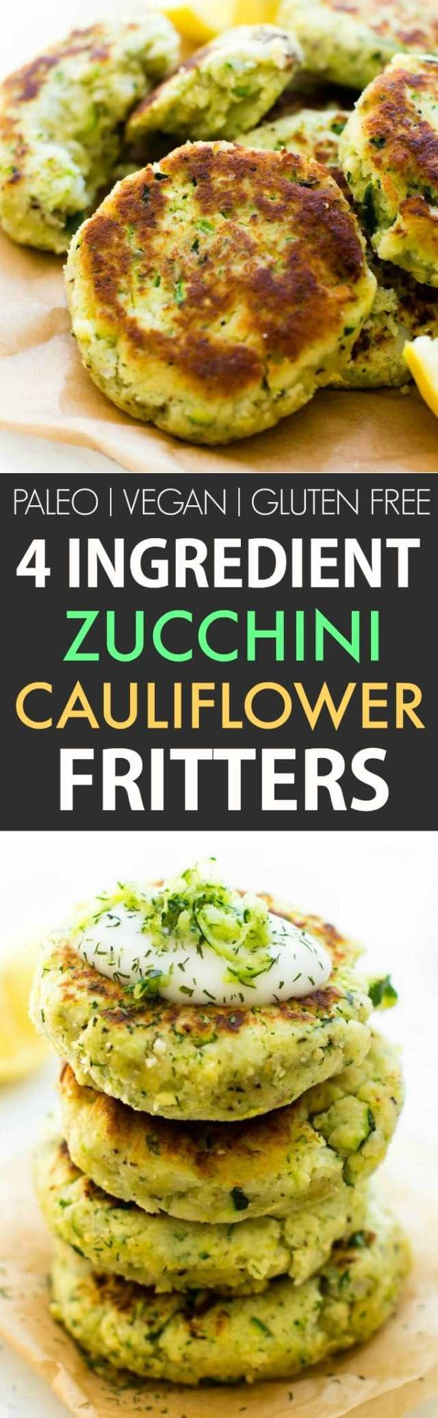 4 Ingredient Zucchini Cauliflower Fritters (V, GF, P, DF)- Crispy, easy and oil-free, these veggie packed cauliflower rice fritters need just four ingredients and 5 minutes to whip up! A kid-friendly meat-free/vegetarian meal! {vegan, gluten free, paleo recipe}- thebigmansworld.com