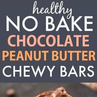 Healthy No Bake Chocolate Peanut Butter Chewy Bars (Vegan, Gluten Free)