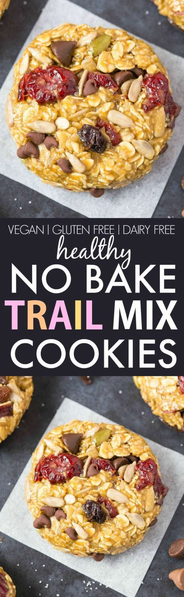 No Bake Trail Mix Cookies (V, GF, DF)- Easy, fuss-free and delicious, this healthy no bake thick and chewy cookie combines cereal and customizable add-ins in one! {vegan, gluten free, sugar free recipe}- thebigmansworld.com