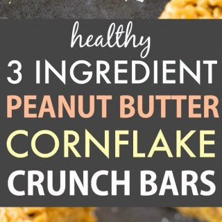 3 Ingredient Peanut Butter Corn Flake Crunch Bars (Vegan, Gluten Free, No Bake)