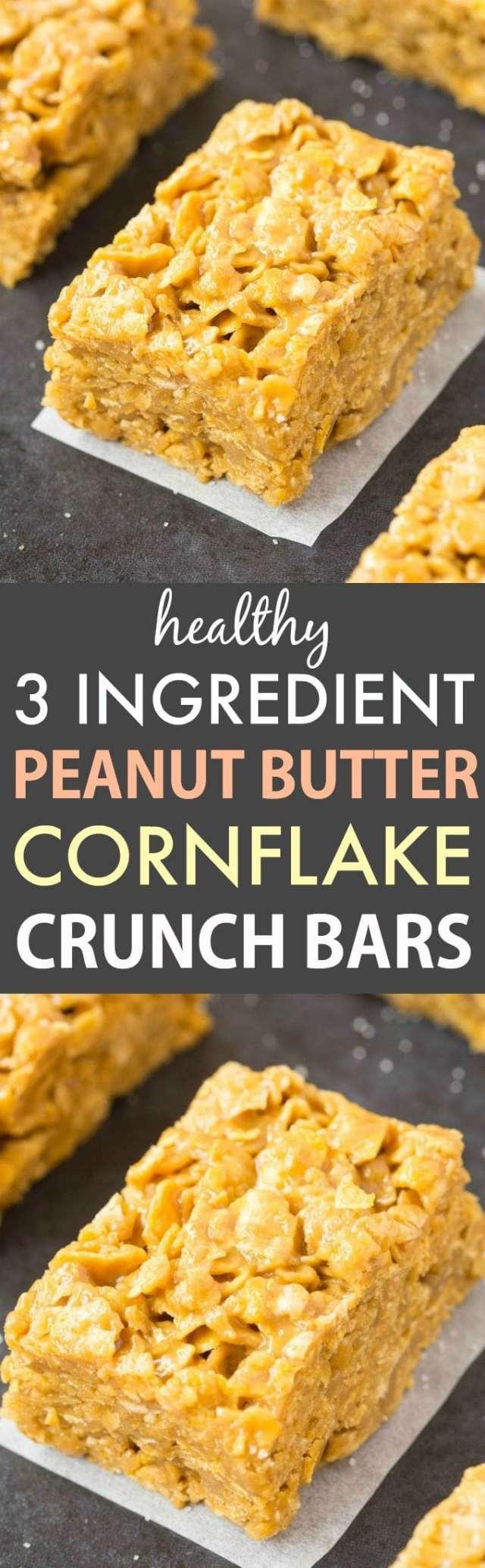 3 Ingredient No Bake Peanut Butter Corn Flake Cereal Crunch Bars