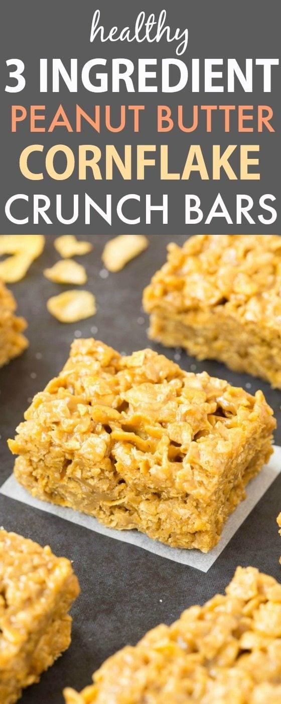 No Bake Peanut Butter Corn Flake Crunch Bars