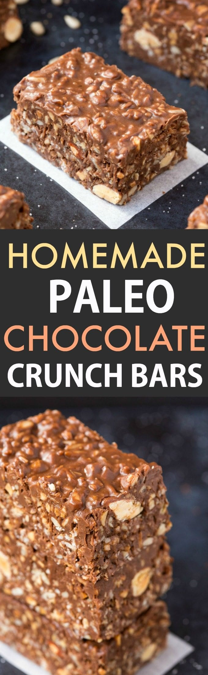 No Bake Homemade Paleo Chocolate Crunch Bars- Easy, fuss-free and delicious, this healthy candy bar copycat combines crispy seeds, chocolate and almond butter in one