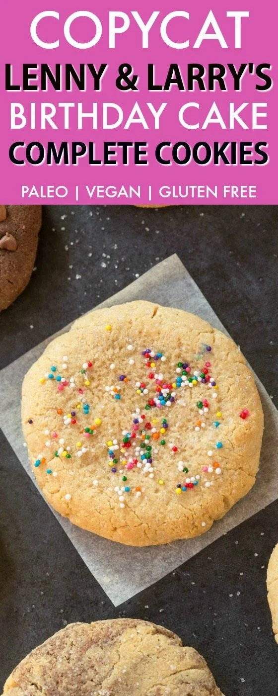 Copycat Lenny & Larry's Birthday Cake Complete Cookie (V, GF, DF, Paleo)- An easy, healthy, single serve protein cookie recipe, dense, chewy and soft in the center! 5 Ingredients and no sugar! {vegan, gluten free, low carb}- thebigmansworld.com