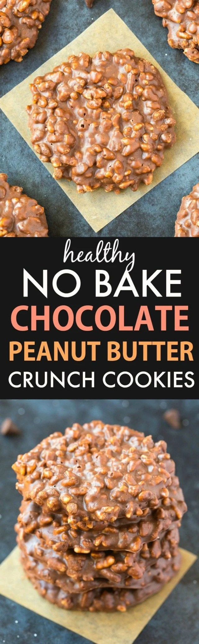 Healthy No Bake Chocolate Peanut Butter Crunch Cookies