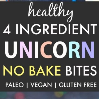 Healthy No Bake Unicorn Bites (V, GF, DF, P)- 4-Ingredient no bake bites inspired by the unicorn frappuccino- Ready in 5 minutes! {vegan, gluten free, paleo recipe}- thebigmansworld.com