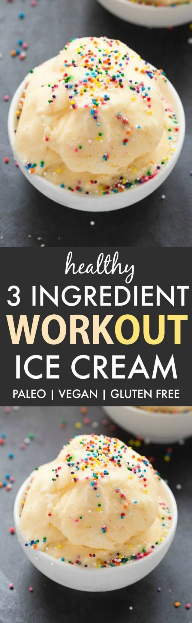 3 Ingredient No Churn Workout Ice Cream (V, GF, Paleo)- An easy and guilt-free 3 ingredient recipe for thick and creamy protein workout ice cream! {vegan, gluten free, dairy free, sugar free}- thebigmansworld.com