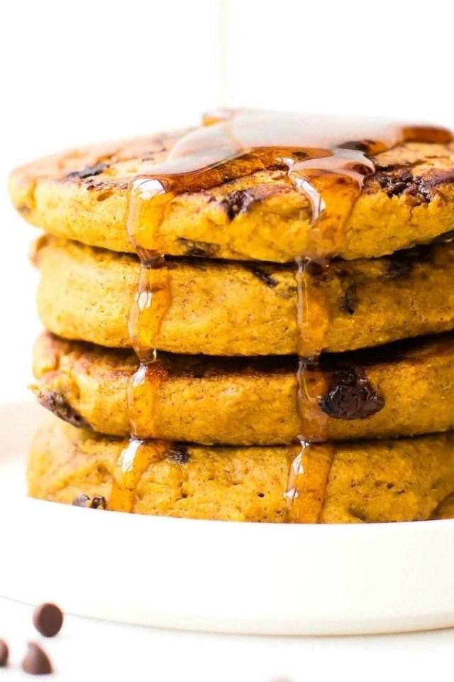 Fluffy Flourless Pumpkin Pancakes (V, GF, SF)- Thick, fluffy and pillow-like pumpkin pancake recipe- Made with NO eggs and NO flour but you'd never tell- Freezer friendly too! {vegan, gluten free, sugar free recipe}- thebigmansworld.com