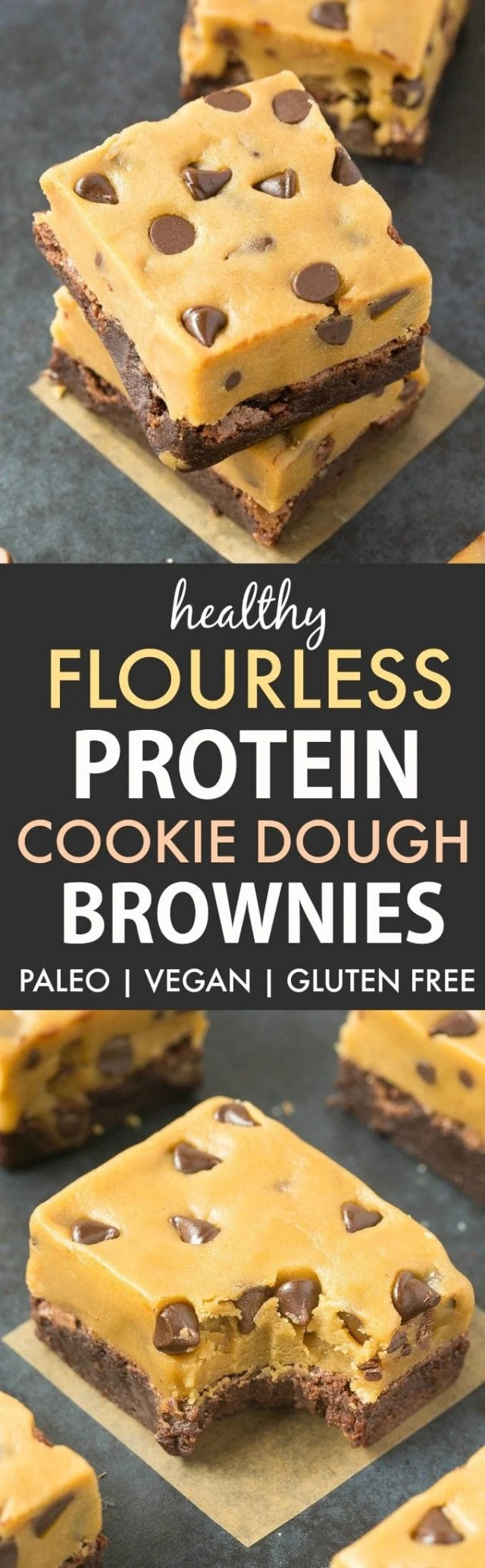 Healthy Protein Cookie Dough Brownies (V, GF, P)- Flourless Fudgy, gooey, Protein Brownies with a thick edible eggless and egg-free cookie dough frosting, completely healthy! {vegan, gluten free, paleo recipe}- thebigmansworld.com #proteinpowder #ediblecookiedough #healthydessert