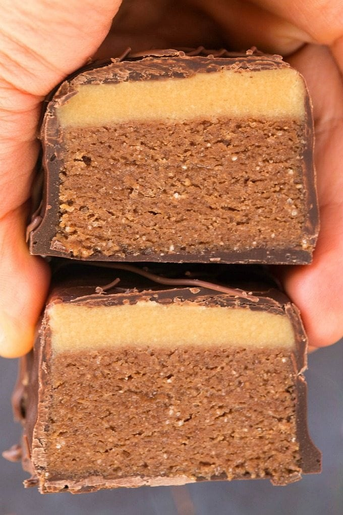 Healthy Homemade Mars Bars (Paleo, Vegan, Sugar Free)- An easy, homemade healthy mars bar recipe which is low carb, dairy free and gluten free. A guilt-free dessert or snack! {v, gf, p}- thebigmansworld.com #marsbar #healthysnacks