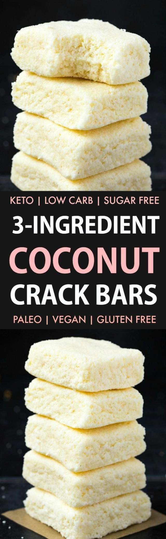 3-Ingredient No Bake Coconut Crack Bars in a collage
