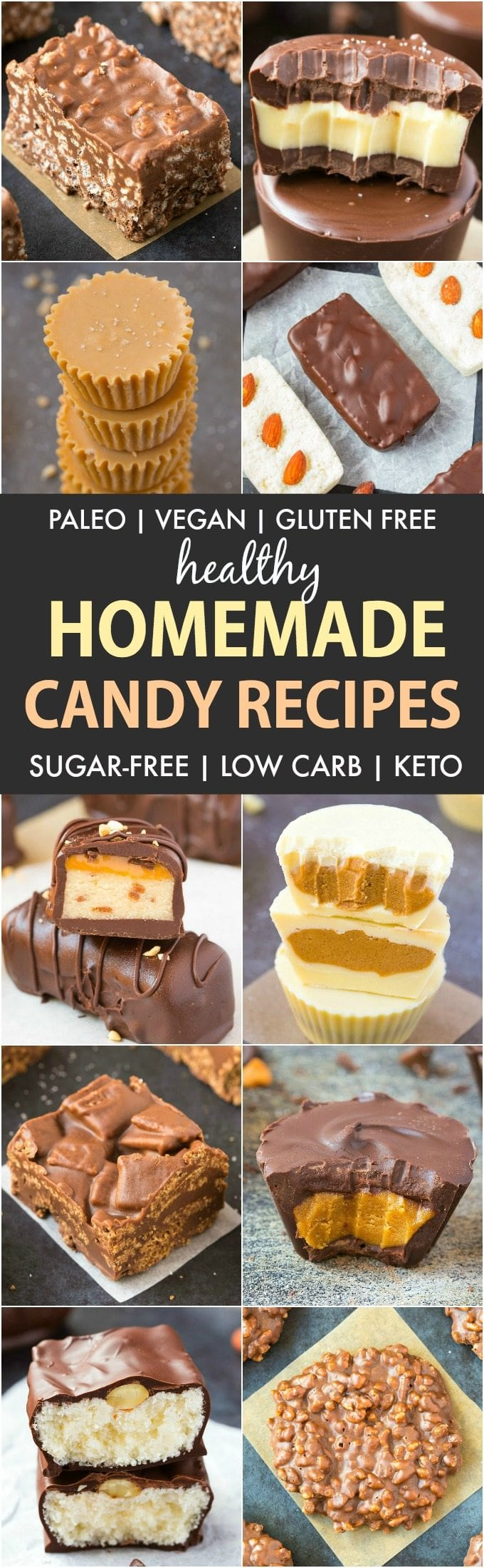 Healthy Homemade Candy Recipes (Paleo, Vegan, Gluten Free)- Easy Copycat Candy Bars given a healthy makeover! Fudge, chocolate bars, soft candy and more! Keto + low carb options too! #homemadecandy #candyrecipe #sugarfree #healthy | Recipe on thebigmansworld.com