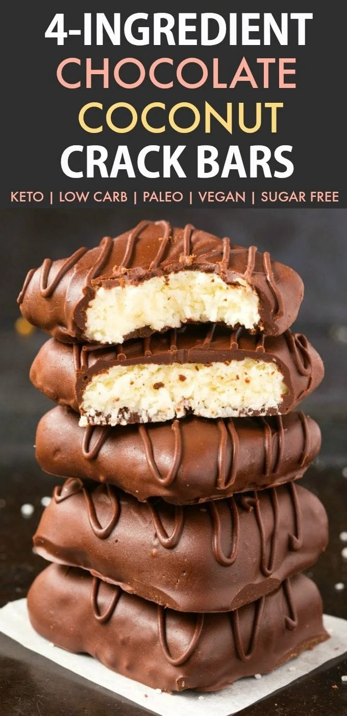 4-Ingredient No Bake Chocolate Coconut Crack Bars (Paleo, Vegan, Keto, Sugar Free, Gluten Free)- Easy, healthy and seriously addictive chocolate coconut candy bars using just 4 ingredients and needing 5 minutes! The Perfect snack or dessert to satisfy the sweet tooth! #keto #ketodessert #coconut #chocolate #healthy #nobake | Recipe on thebigmansworld.com