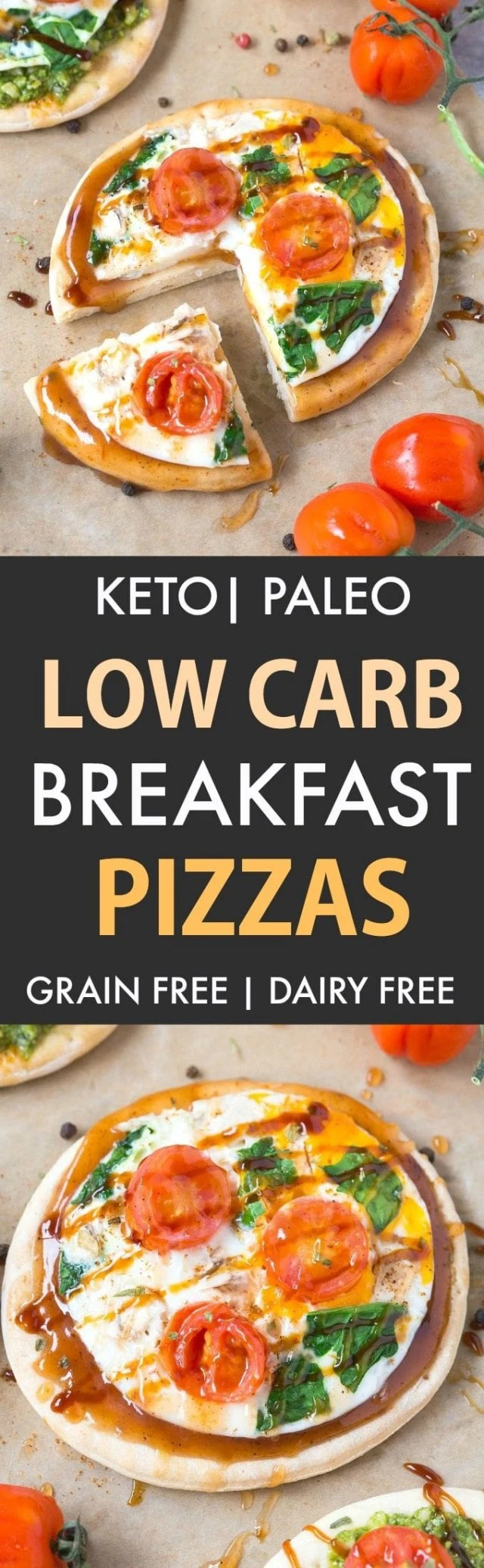 Keto Breakfast Pizzas (Low Carb, Paleo, Gluten Free, Grain Free)- Easy stovetop pizza crusts recipe packed with protein and perfect to load with your favorite toppings- Freezer friendly too!   #keto #ketopizza #paleopizza #grainfreepizza #lowcarbpizza   Recipe on thebigmansworld.com