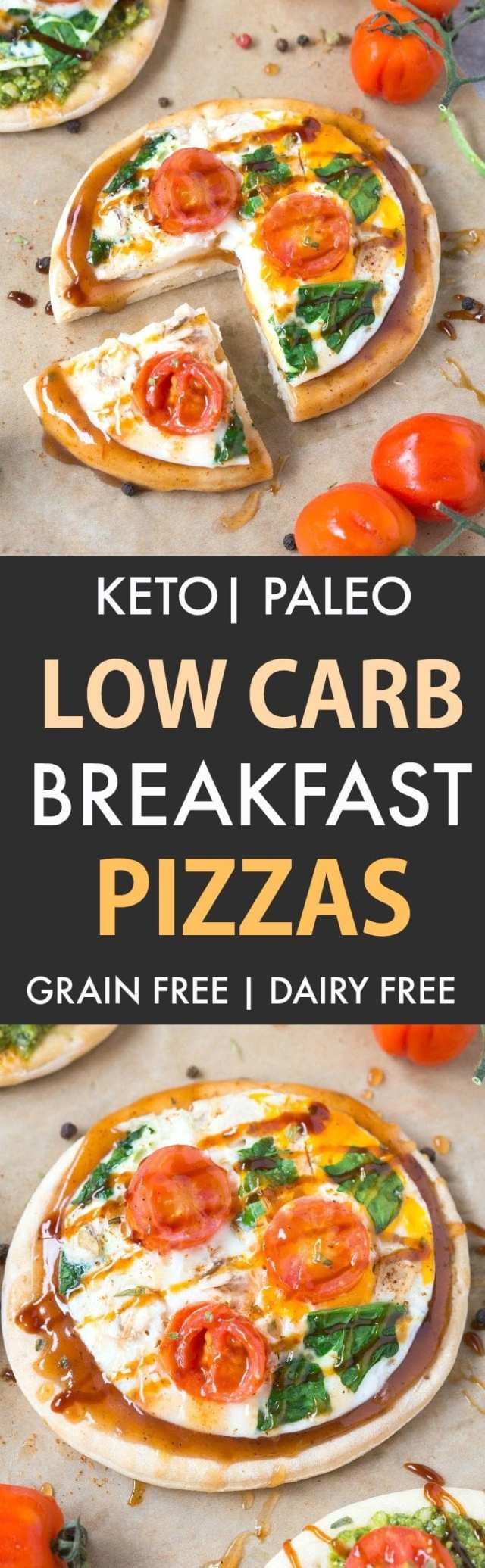 Keto Breakfast Pizzas (Low Carb, Paleo, Gluten Free, Grain Free)- Easy stovetop pizza crusts recipe packed with protein and perfect to load with your favorite toppings- Freezer friendly too! | #keto #ketopizza #paleopizza #grainfreepizza #lowcarbpizza | Recipe on thebigmansworld.com