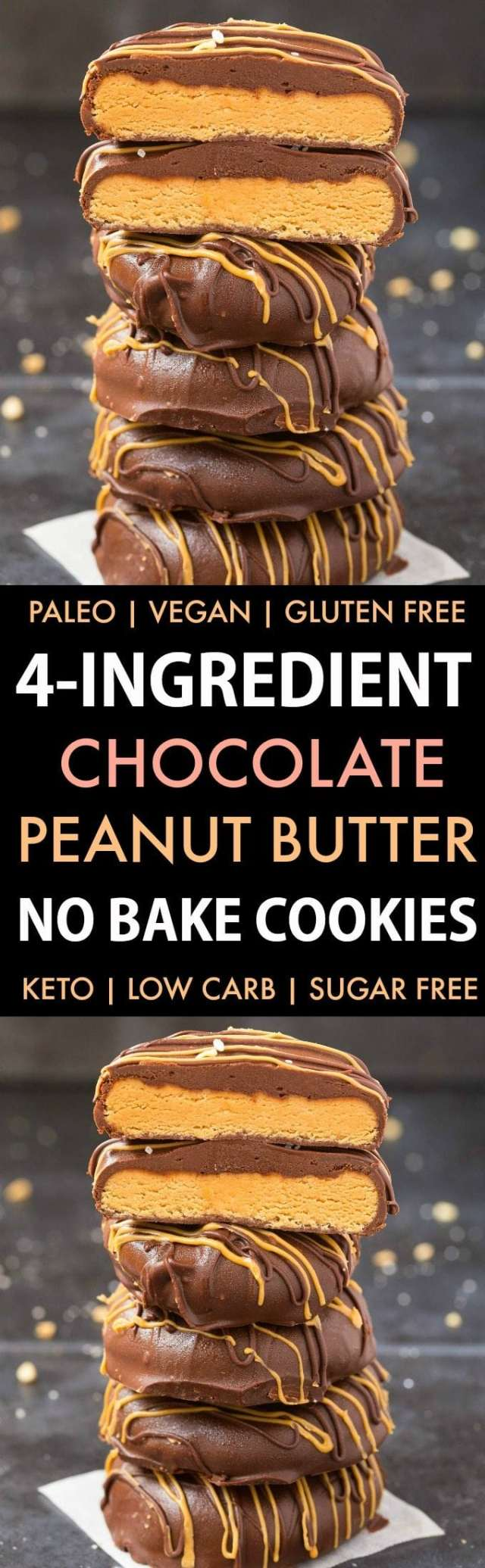 4-Ingredient No Bake Chocolate Peanut Butter Cookies (Paleo, Vegan, Keto, Sugar Free, Gluten Free)-An easy recipe for chocolate peanut butter no bake cookies using just 4 ingredients! Easy, delicious low carb cookies which take less than 5 minutes to whip up- The perfect snack or holiday gift. #keto #ketodessert #nobake #cookies #peanutbutter | Recipe on thebigmansworld.com
