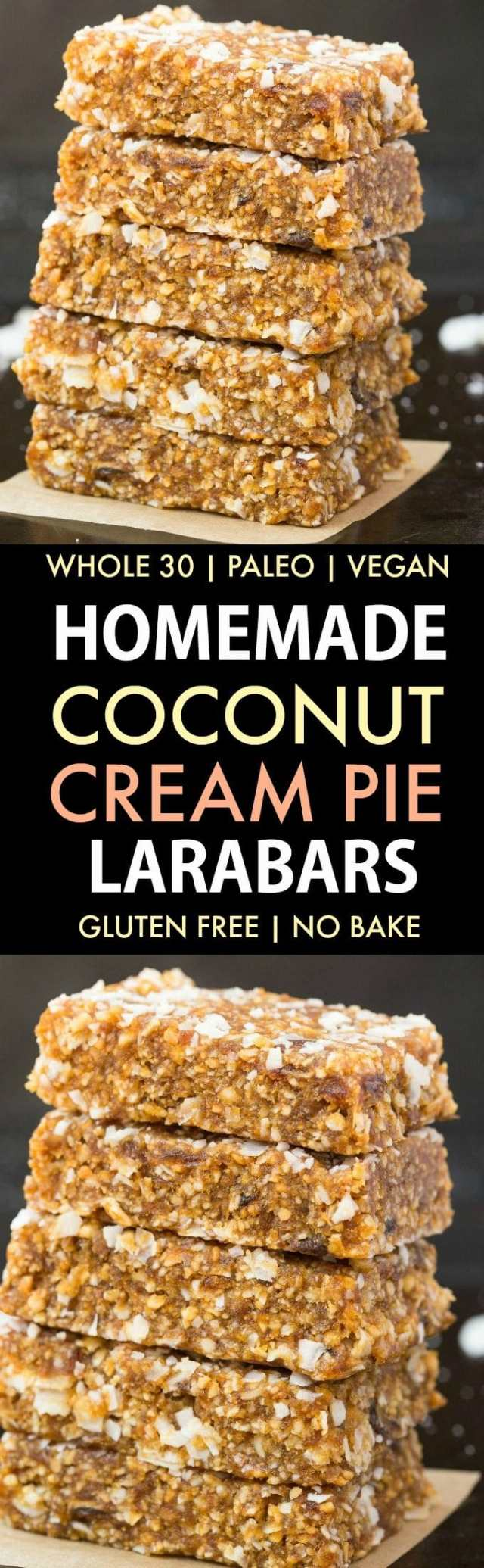 How to make whole30 Homemade Coconut Cream Pie Larabars