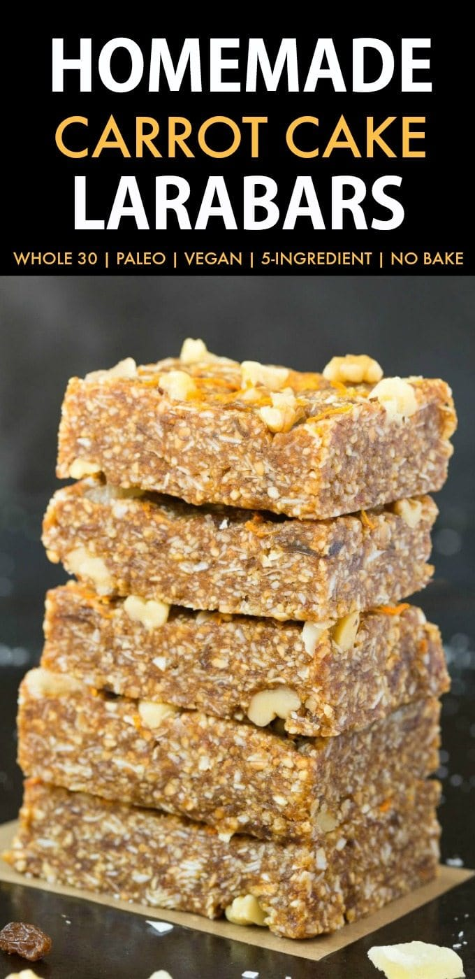 Homemade Carrot Cake Larabars (Whole30, Paleo, Vegan, Gluten Free) These homemade Larabars are cheaper than store-bought and take minutes to whip up! Made with simple Ingredients and whole30 approved! (vegan, whole 30, dairy free, refined sugar free)- #whole30 #vegan #whole30approved   Recipe on thebigmansworld.com