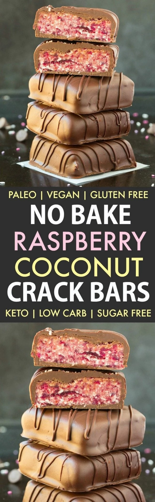 No Bake Raspberry Coconut Chocolate Crack Bars (Paleo, Vegan, Keto, Sugar Free, Gluten Free)- Easy, healthy and seriously addictive raspberry coconut candy bars using ready in 5 minutes! The Perfect snack or dessert to satisfy the sweet tooth! #keto #ketodessert #coconut #raspberry #healthy #nobake | Recipe on thebigmansworld.com