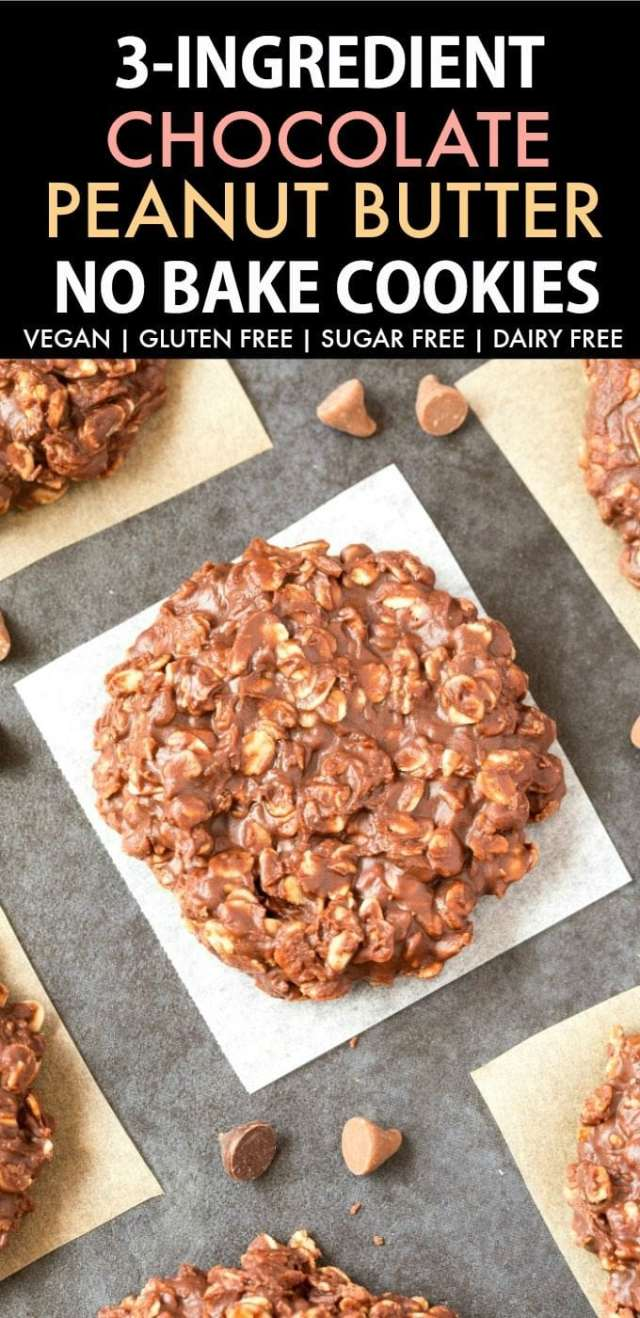Chocolate peanut butter no bake cookies on a white plate