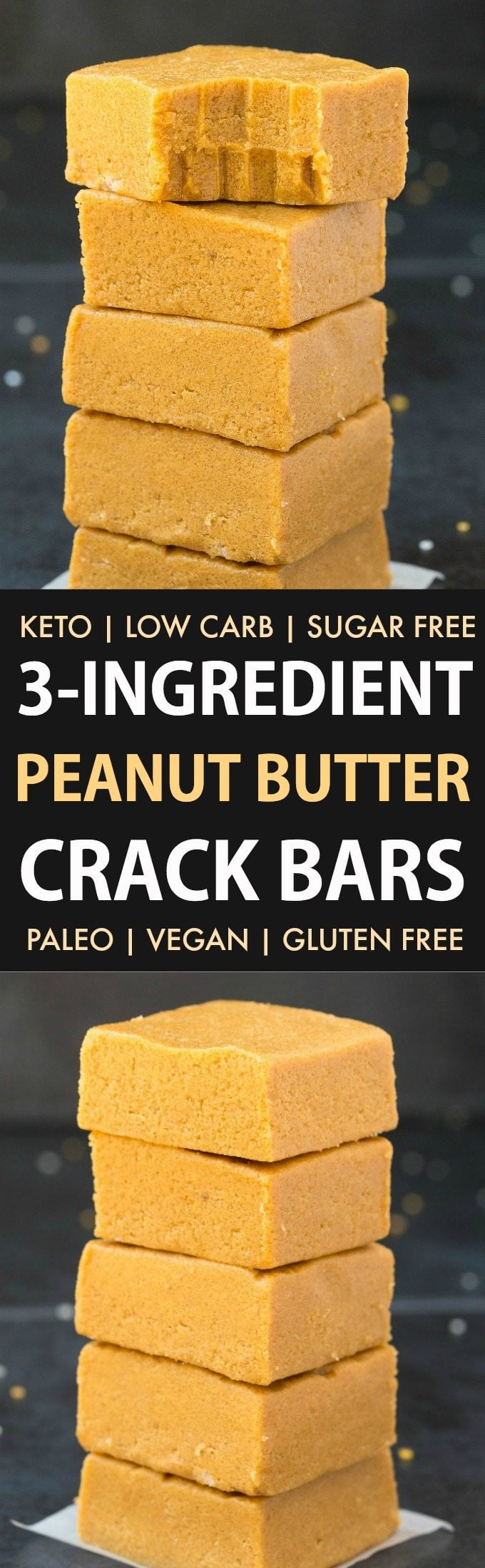 3-Ingredient No Bake Peanut Butter Crack Bars (Keto, Paleo, Vegan, Sugar Free)- Make this easy no bake peanut butter crack bars recipe which tastes like fudge in under 5 minutes, to satisfy your sweet tooth the healthy way! Low carb, smooth, creamy and with just 3 ingredients! #lowcarbrecipe #healthyfudge #peanutbutter #ketodessert #lowcarb #sugarfree | Recipe on thebigmansworld.com