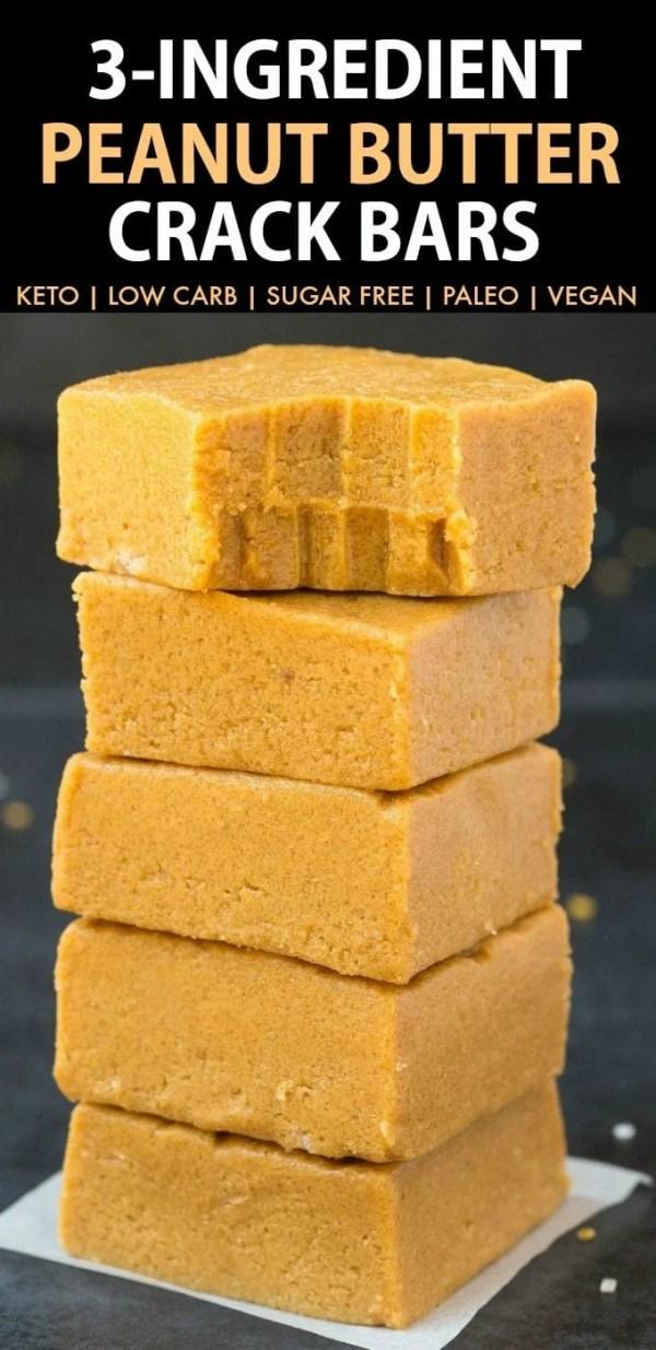 3-Ingredient No Bake Peanut Butter Crack Bars