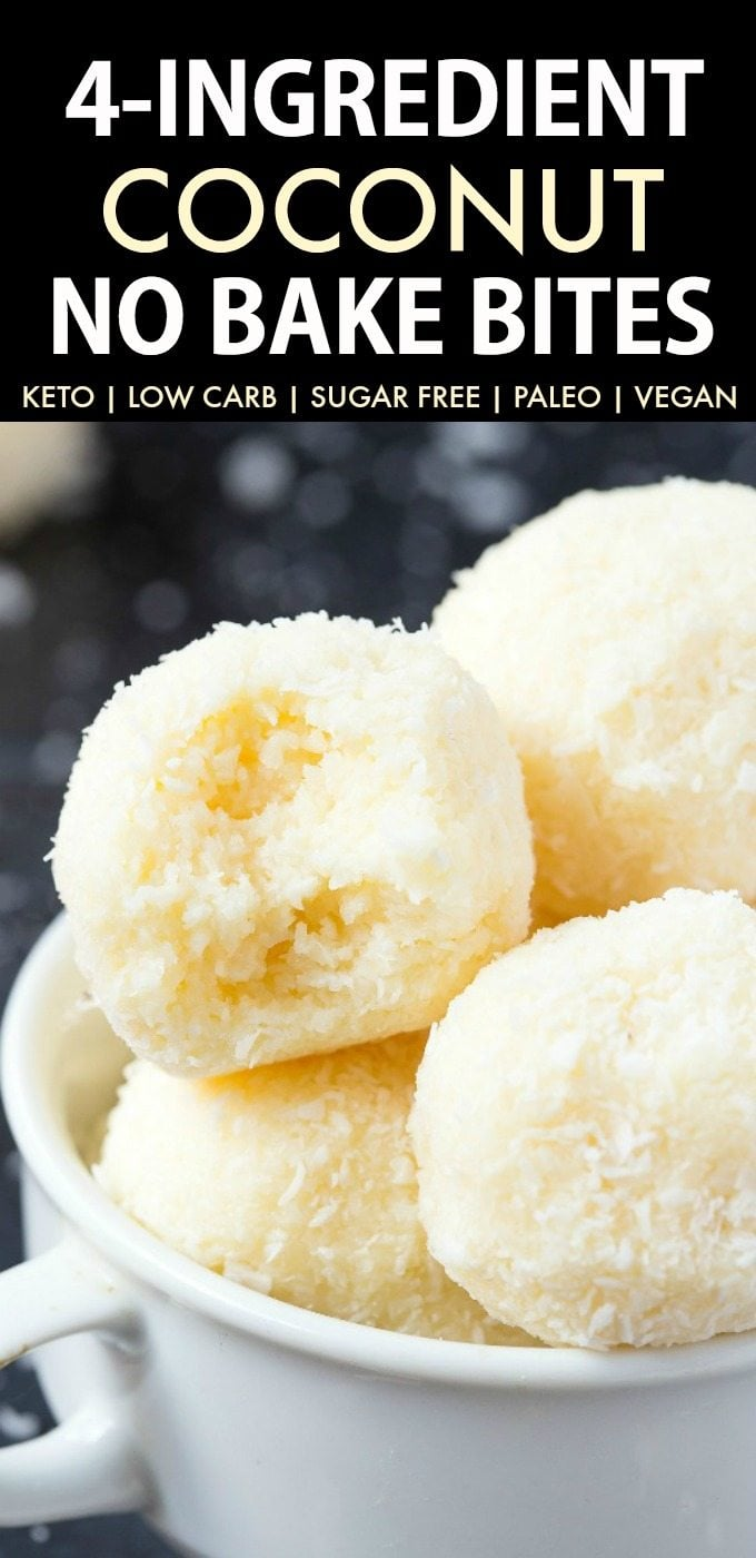 4 Ingredient No Bake Coconut Bites (Keto, Paleo, Vegan, Sugar Free)- An easy, 5-minute recipe for soft coconut no bake balls! No condensed milk, sugar, or dairy needed for these energy bites and super low carb. #lowcarbrecipe #nobakecookies #ketodessert #lowcarb #sugarfree | Recipe on thebigmansworld.com