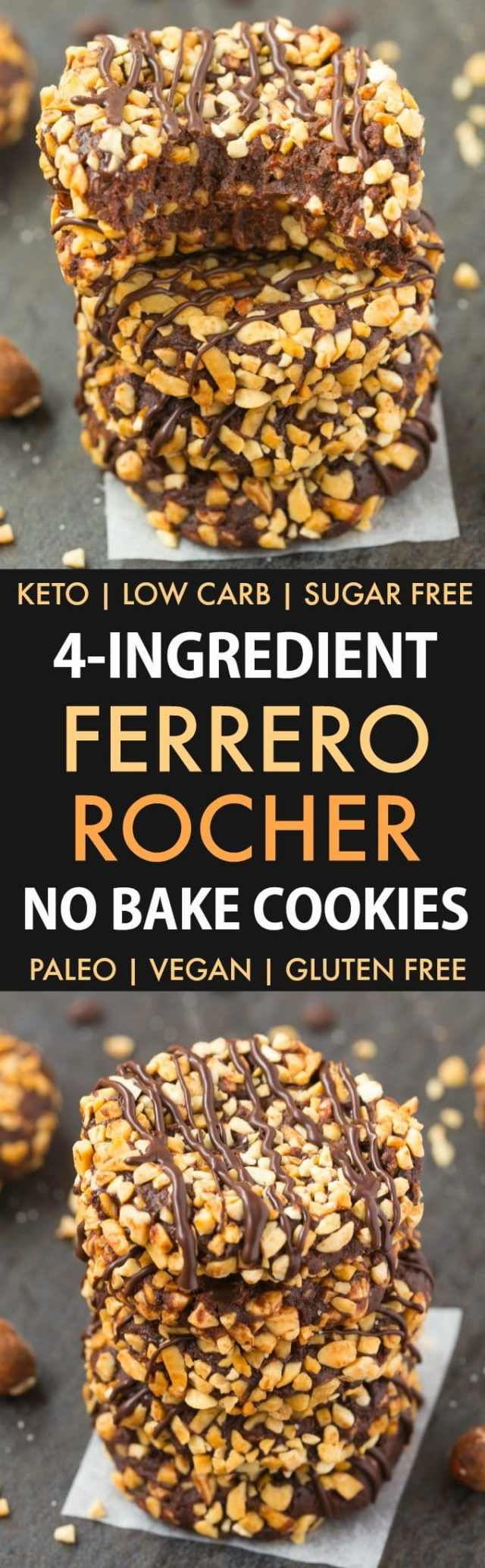 No Bake Paleo Vegan Chocolate Hazelnut Cookies without peanut butter and needing just 4 ingredients. Homemade 'Nutella' and coconut flour are used to make these fudgy cookies which taste like a Ferrero Rocher chocolate! Keto, Sugar Free, Low Carb.