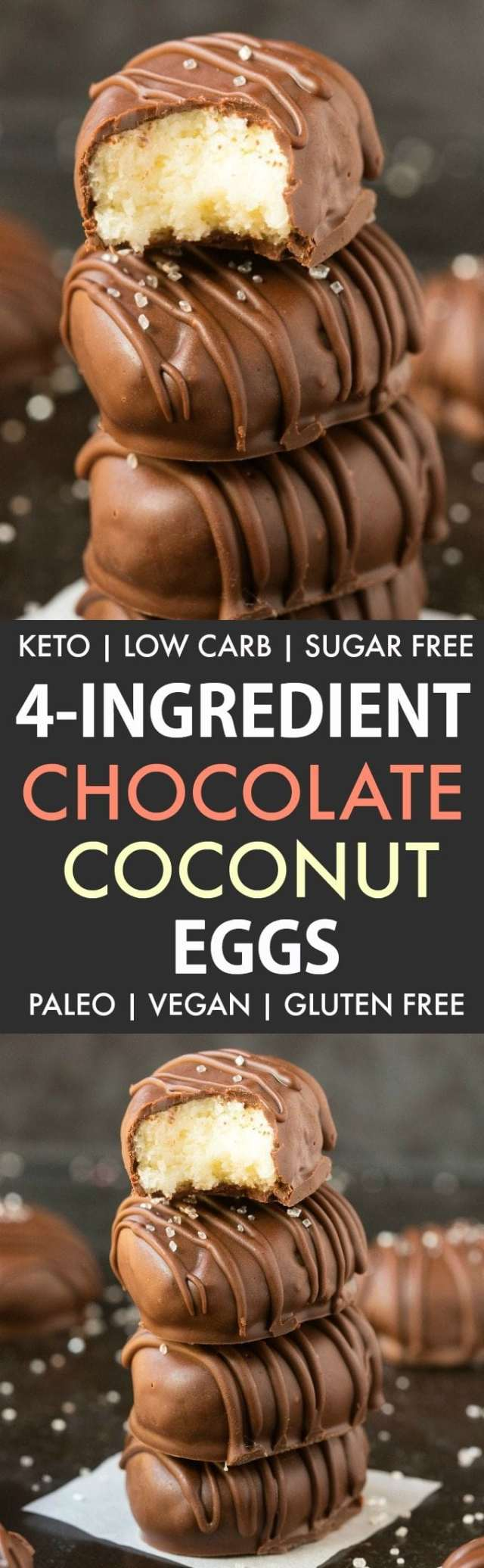 4-Ingredient No Bake Chocolate Coconut Eggs (Paleo, Vegan, Keto, Sugar Free, Gluten Free)-An easy recipe for chocolate coconut no bake Easter eggs using just 4 ingredients! Easy, delicious low carb candy which take less than 5 minutes to whip up- The perfect snack or holiday gift. #keto #ketodessert #nobake #ketosis | Recipe on thebigmansworld.com