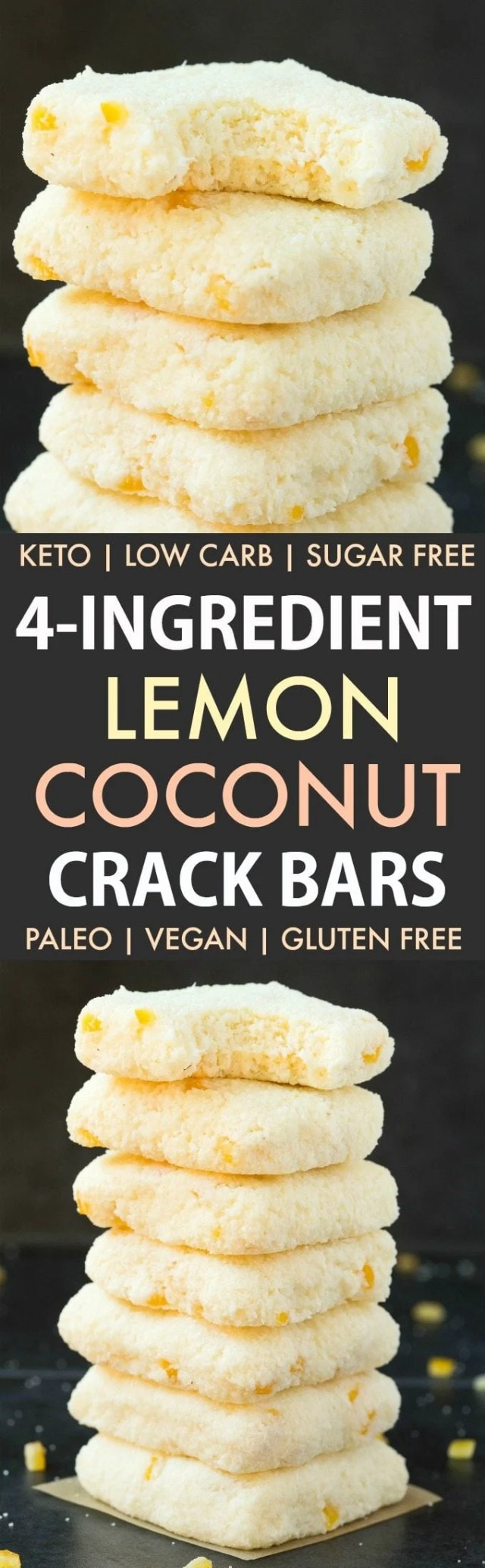4-Ingredient No Bake Lemon Coconut Crack Bars (Paleo, Vegan, Keto, Sugar Free, Gluten Free)-An Easy, healthy and seriously addictive lemon coconut bars recipe using just 4 ingredients and needing 5 minutes! A delicious ketogenic dessert or snack! #keto #ketodessert #coconut #lemon #healthy #nobake   Recipe on thebigmansworld.com
