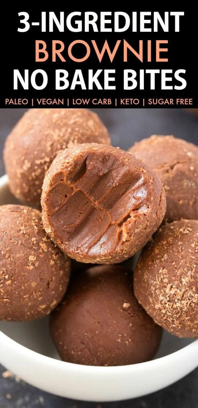3-Ingredient Easy No Bake Brownie Bites