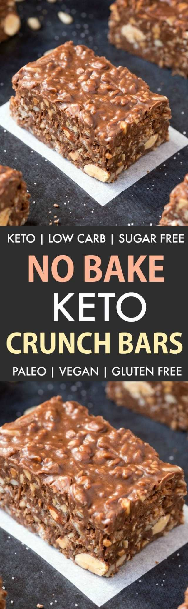 Homemade No Bake Keto Chocolate Crunch Bars (Paleo, Vegan, Sugar Free, Low Carb)- An easy recipe for copycat crunch bars with a ketosis and sugar-free makeover! The ultimate ketogenic dessert recipe ready in 5 minutes! #ketogenicdessert #ketodessert #lowcarb #sugarfree #paleo | Recipe on thebigmansworld.com