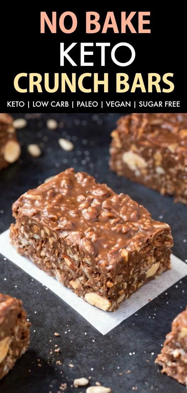 Homemade No Bake Keto Chocolate Crunch Bars