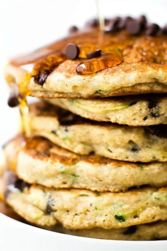 Fluffy Low Carb Keto Pancakes with zucchini stacked up