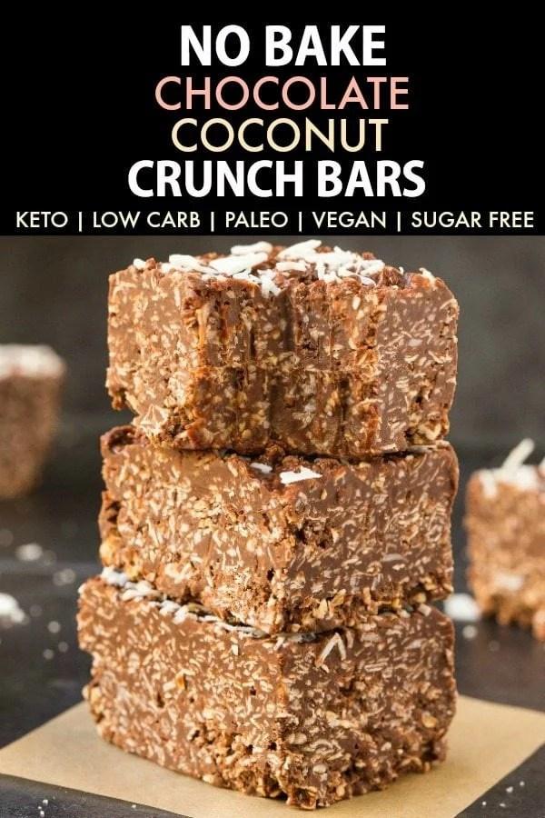 Homemade No Bake Keto Chocolate Coconut Crunch Bars
