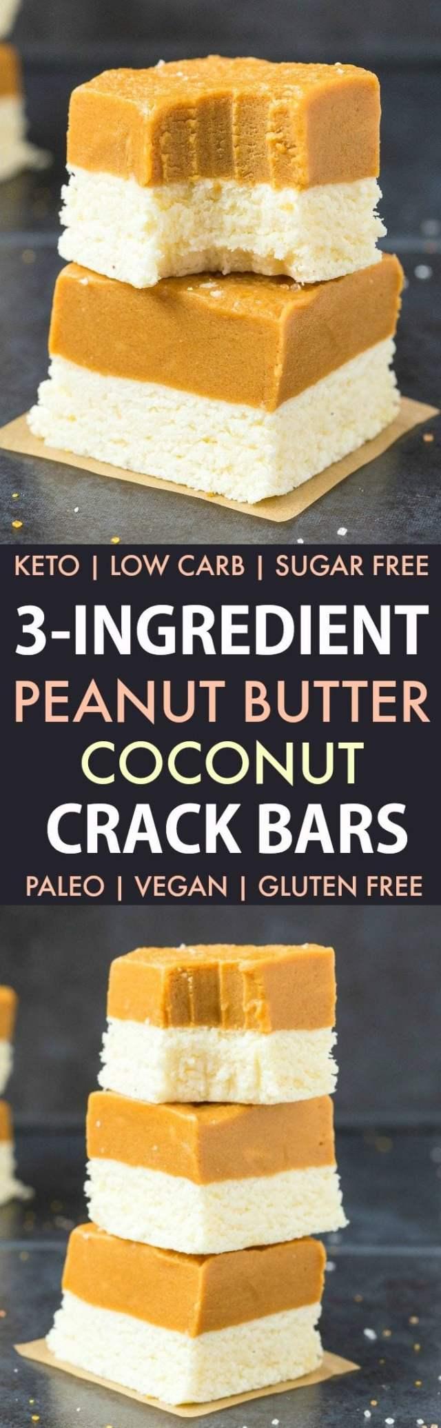3-Ingredient No Bake Peanut Butter Coconut Crack Bars