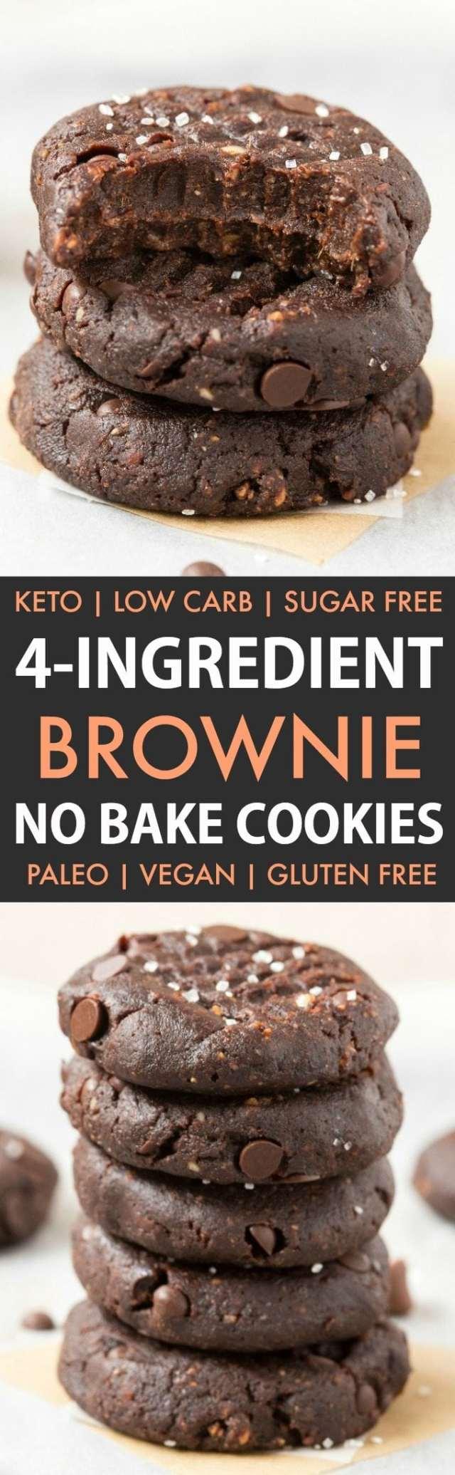 4-Ingredient No Bake Brownie Cookies in a collage