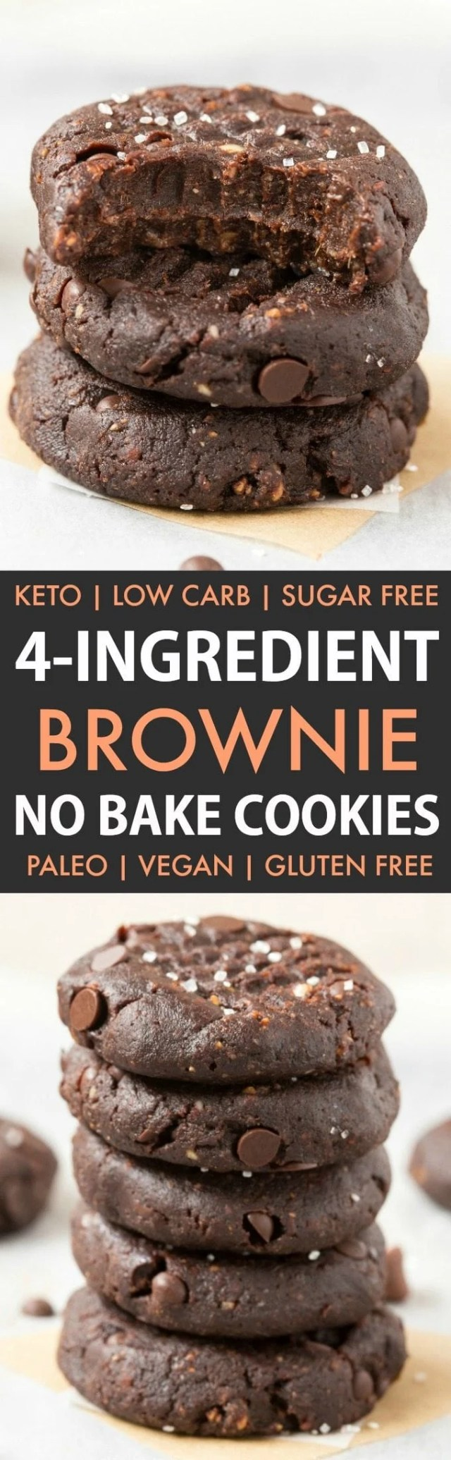 4-Ingredient No Bake Brownie Cookies in a collage