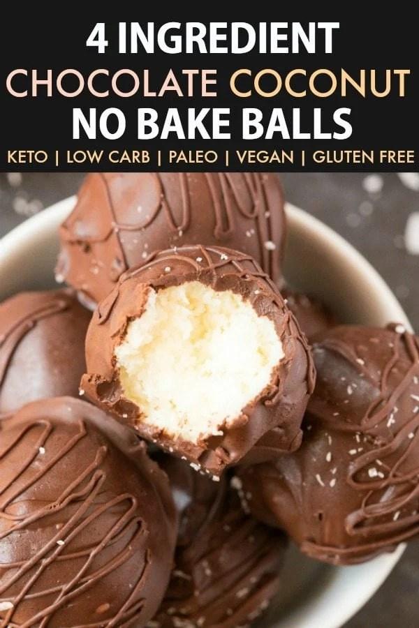 4-Ingredient Paleo Vegan Chocolate Coconut No Bake Balls