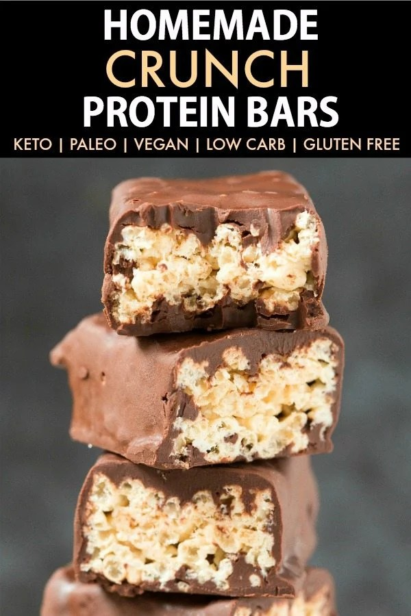 Homemade Low Carb CRUNCH Protein Bars (Keto, Paleo, Vegan, Gluten Free)- An easy No Bake 5-minute recipe for homemade protein bars using wholesome ingredients and without protein powder! #proteinbars #ketogenicrecipes #snack #vegan #paleo #keto #sugarfree | Recipe on thebigmansworld.com