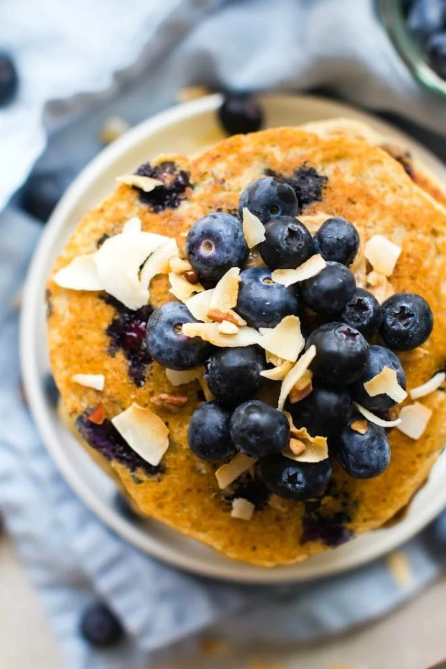 Fluffy Low Carb Keto Blueberry Pancakes overhead