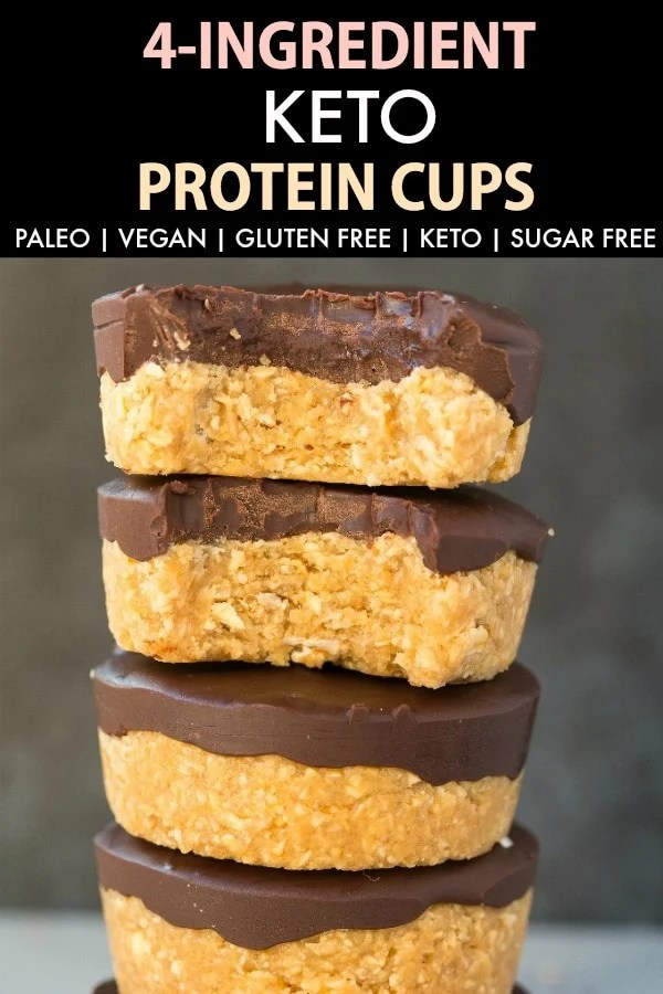 4 Ingredient Keto Protein Cups topped with chocolate
