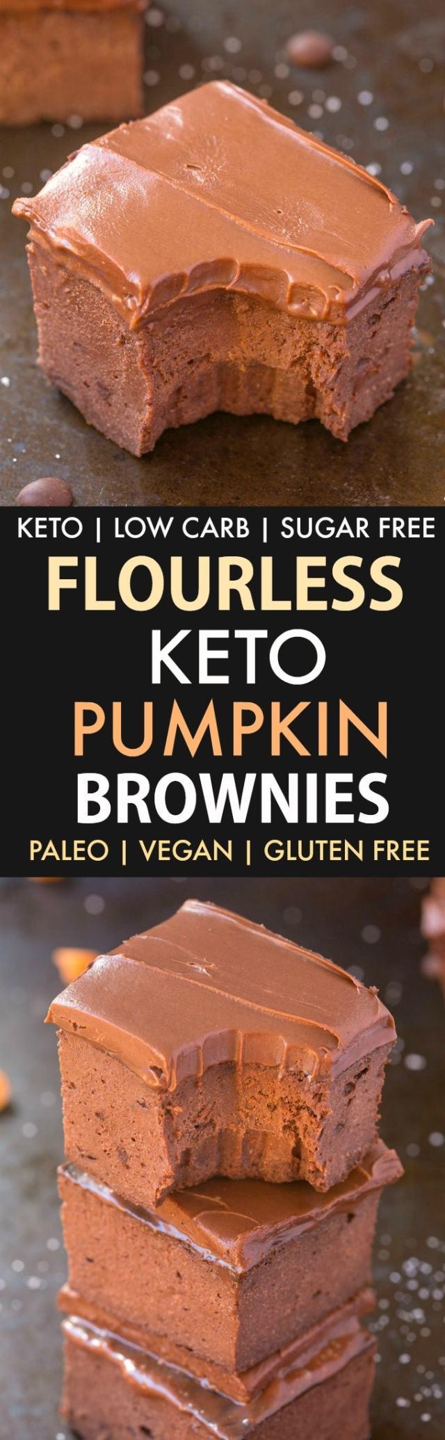 3-Ingredient Flourless Pumpkin Brownies in a collage