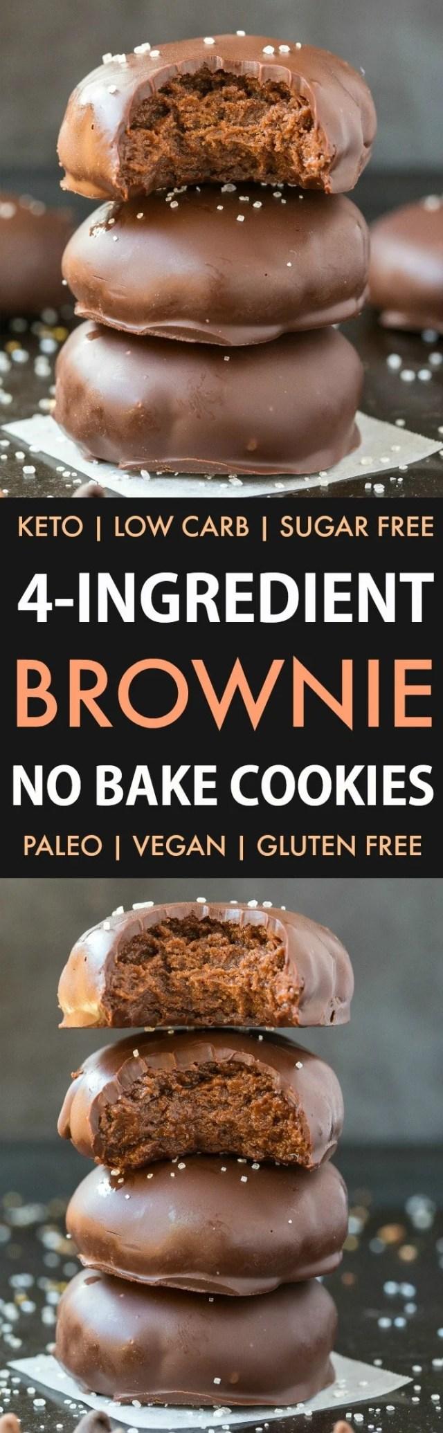 4-Ingredient No Bake Brownie Batter Cookies in a collage