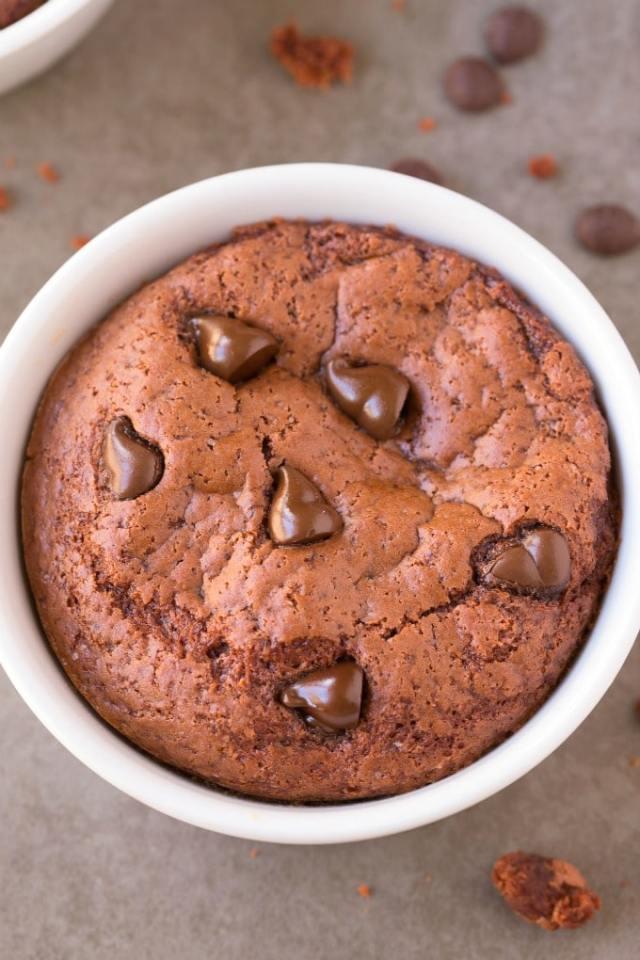 1-Minute Keto Chocolate Mug Cake in a white mug